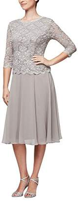 Alex Evenings Women's Sequin Lace Mock Dress