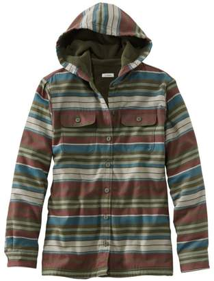 L.L. Bean L.L.Bean Women's Fleece-Lined Flannel Hoodie, Stripe