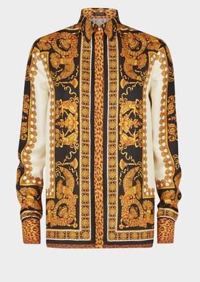 Versace Signature Wild Print Silk Shirt