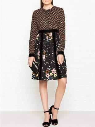 Orla Kiely Leith X Ethel Velvet Panel Multi Floral Print Dress - Tan/black