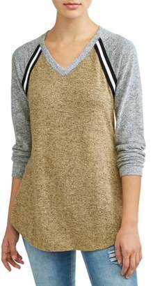 No Comment Juniors' Brushed Hacci Varsity Stripe Tie Front Raglan Sleeve T-Shirt
