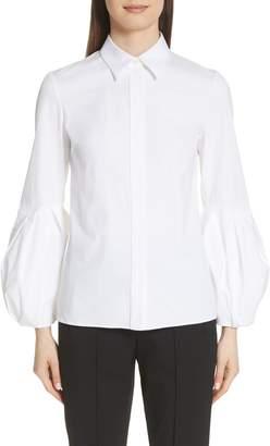 Michael Kors Puff Sleeve Stretch Poplin Shirt