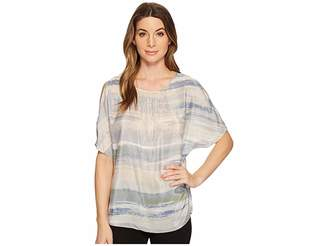 Nic+Zoe Watercolor Cold Shoulder Top Women's Clothing