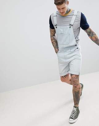 Asos DESIGN Denim Short Overalls In Light Wash Blue