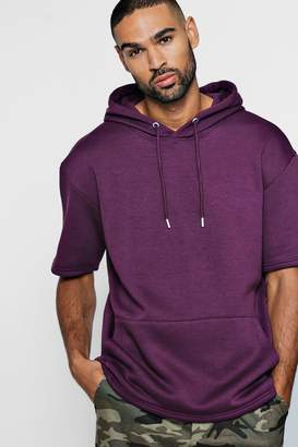boohoo Short Sleeve Drop Shoulder Hoodie