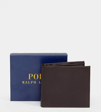 1c38790c Polo Ralph Lauren classic leather billfold wallet in brown Exclusive at ASOS