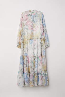 H&M Patterned Chiffon Dress - White