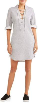 ALISON ANDREWS Women's French Terry Lace Up Popover Dress