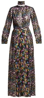 Raquel Diniz Olivia Floral Print Silk Dress - Womens - Black Multi