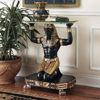 Toscano Design Servant to the Pharaoh Glass-Topped Console Table