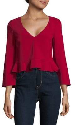 Cushnie et Ochs Ruffled V-Neck Top