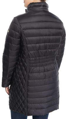 Herman Kay Hooded Zip-Front Packable Long Jacket, Plus Size