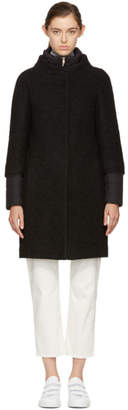 Herno Black Wool and Nylon Layered Cocoon Coat