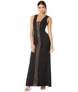 BCBGMAXAZRIA Satin Gown with Lace Inset