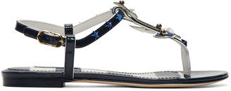 Dolce & Gabbana Navy Patent Sailor Sandals $795 thestylecure.com