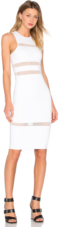 Alexander Wang T by Alexander Wang Mesh Stripe Fitted Dress