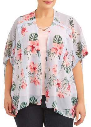 Moral Fiber Women's Plus Size Open Front Floral Print Kimono with Crochet Trim