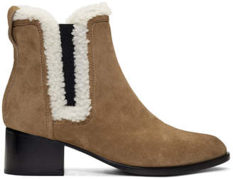 Rag & Bone Tan Suede and Shearling Walker Boots