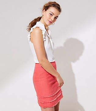 LOFT Petite Tiered Fringe Shift Skirt
