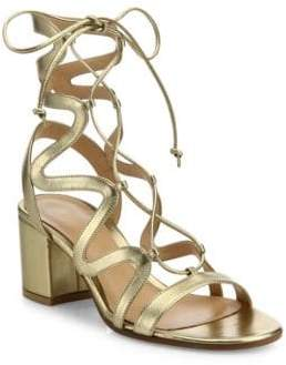 Gianvito Rossi Metallic Leather Lace-Up Block Heel Sandals