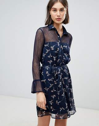Lavand Floral Shirt Dress With Sheer Panels