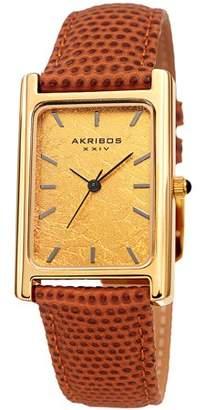 Akribos XXIV Gold Tone Dress Quartz Watch With Leather Strap [AK1045BR]