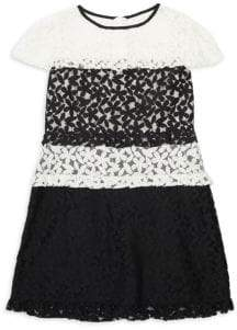 Milly Minis Girl's Cap Sleeve Floral Lace Dress