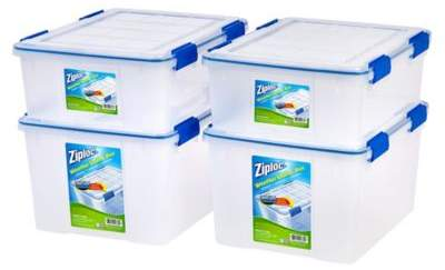 Iris USA Ziploc® WeatherShield 26.5 qt. and 44 qt. Storage Boxes in Clear (Set of 4)