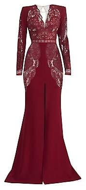 ZUHAIR MURAD Women's Mirai Lace Long-Sleeve Crepe Slit Gown