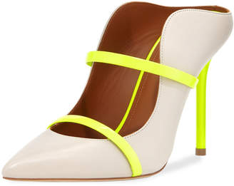 Malone Souliers Maureen Luwolt High-Heel Leather Mules with Neon Detail