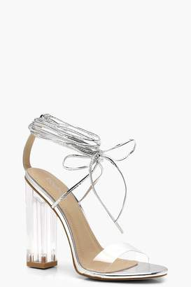 boohoo Clear Heel Wrap Strap Sandals