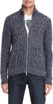 Armani Jeans Marled Cable Knit Slim Cardigan