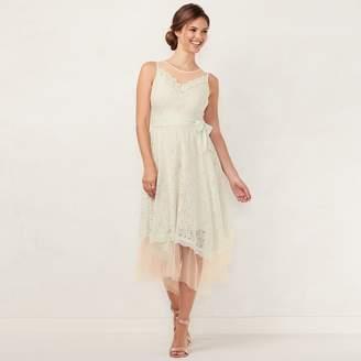 Lauren Conrad Women's Lace Handkerchief Hem Midi Dress
