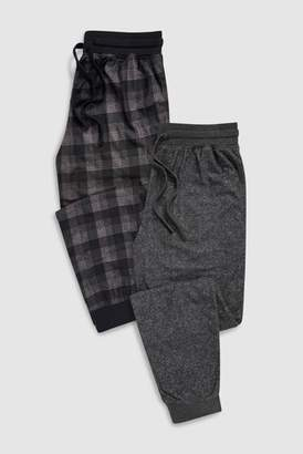 Next Mens Black/Grey Check Cosy Cuffed Long Bottoms Two Pack