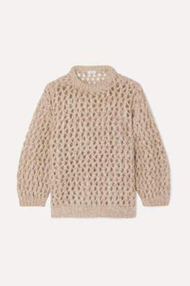 Brunello Cucinelli Metallic Open-knit Sweater - Beige