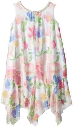 Us Angels Chiffon Floral Print Trapeze Dress Girl's Dress