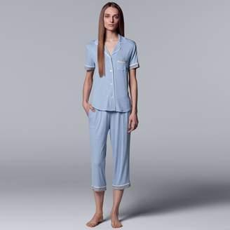 Vera Wang Women's Simply Vera Notch Collar Shirt & Capri Pajama Set