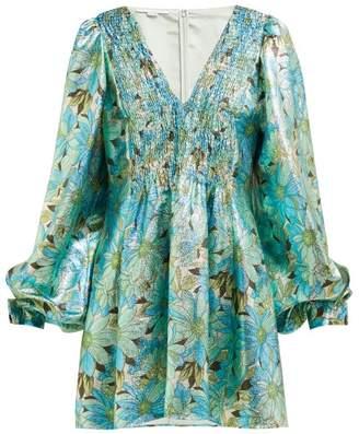 Stella McCartney Gianna Floral Print Lame Dress - Womens - Green Multi