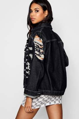 boohoo Distressed Black Denim Jacket