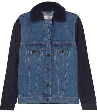 Victoria Beckham Victoria, Shearling-trimmed Denim And Suede Jacket