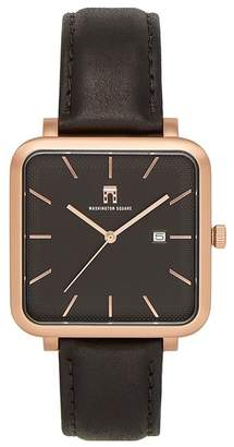 Washington Square Watches Men's Quartz Leather Strap Watch, 38mm x 44mm