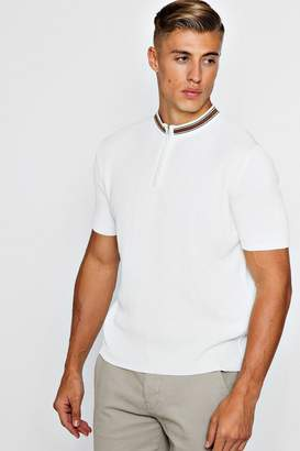 boohoo Zip Detail Short Sleeve Rib Knitted Polo