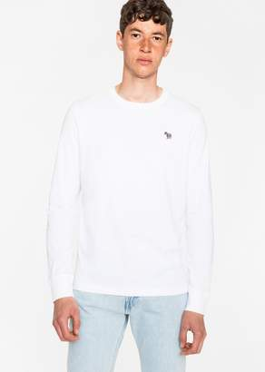Paul Smith Men's White Organic-Cotton Zebra Logo Long-Sleeve T-Shirt