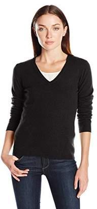 Lark & Ro Women's 100% Cashmere 2 Ply Slim Fit Basic V-Neck Sweater