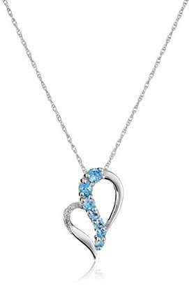Sterling Blue Topaz and Diamond Accent Heart Journey Pendant Necklace