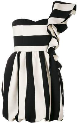 Valentino striped one shoulder ruffle dress