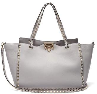 Valentino Rockstud Medium Leather Tote - Womens - Light Grey