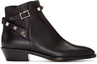 Valentino Black Rockstud Ankle Boots $1,295 thestylecure.com