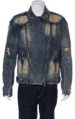 Balmain Destroyed Denim Jacket w/ Tags