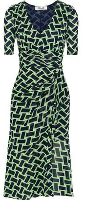 Diane von Furstenberg Farrell Wrap-effect Printed Stretch-mesh Dress